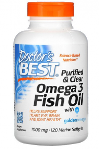 Doctor's Best Purified & Clear Omega 3 Fish Oil with Goldenomega 1000 mg